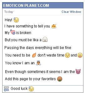 Conversation with emoticon Tiredness for Facebook