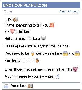 Conversation with emoticon Truck for Facebook