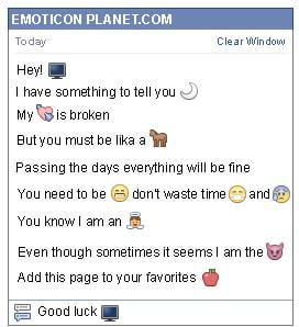 Conversation with emoticon Tv for Facebook