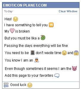 Conversation with emoticon Waiting for Facebook