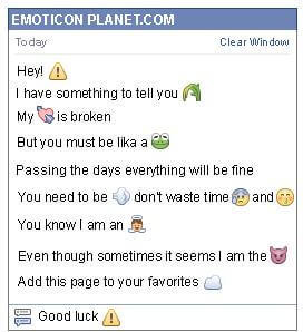 Conversation with emoticon Warning Sign for Facebook
