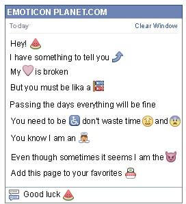 Conversation with emoticon Watermelon for Facebook