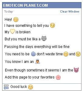 Conversation with emoticon Whistling for Facebook
