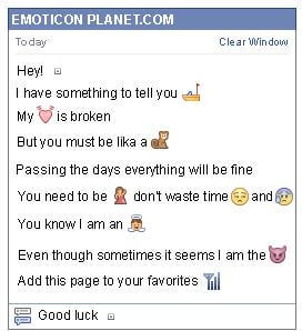 Conversation with emoticon White Button for Facebook