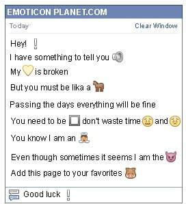 Conversation with emoticon White Exclamation Mark for Facebook