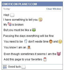 Conversation with emoticon White Square for Facebook