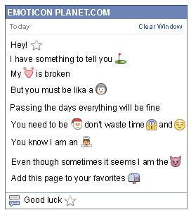 Conversation with emoticon White Star for Facebook