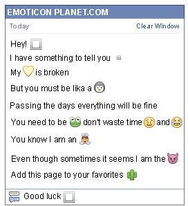 Conversation with emoticon White Window for Facebook