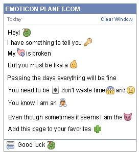 Conversation with emoticon Worm for Facebook