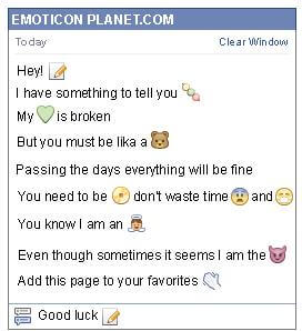Conversation with emoticon Write a Letter for Facebook