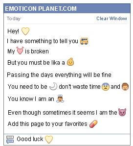 Conversation with emoticon Yellow Heart for Facebook