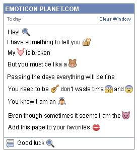 Conversation with emoticon Zoom for Facebook